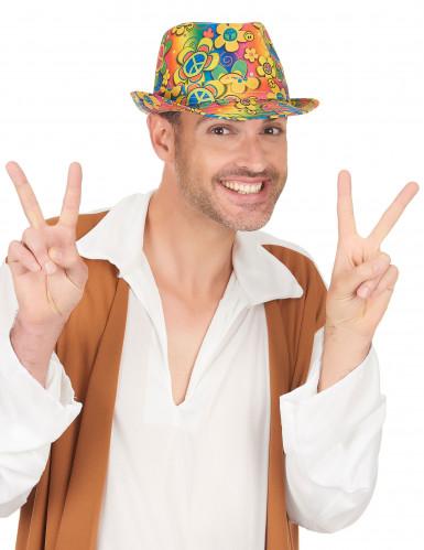 Chapeau borsalino hippie à fleurs adulte-2