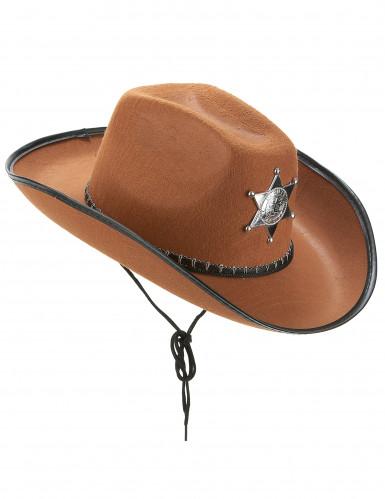 Chapeau Sherif marron adulte