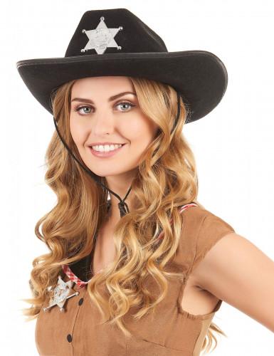 Chapeau Sherif noir adulte-1