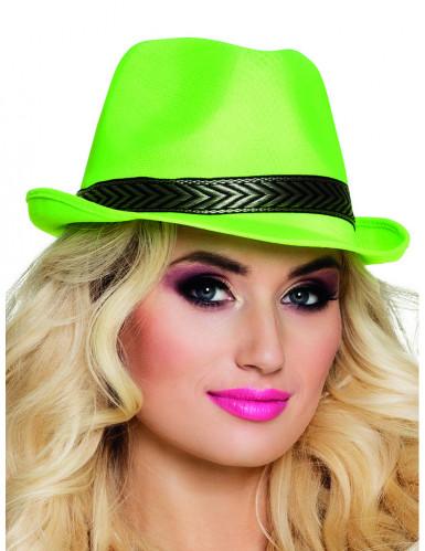 Chapeau borsalino trilby vert fluo adulte