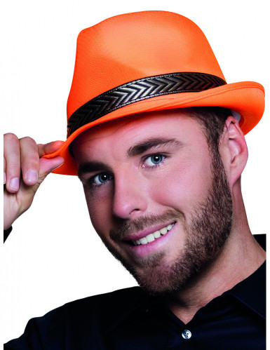 Chapeau borsalino trilby orange fluo adulte