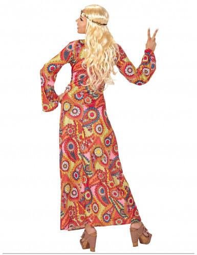 Déguisement robe longue hippie multicolore femme-1