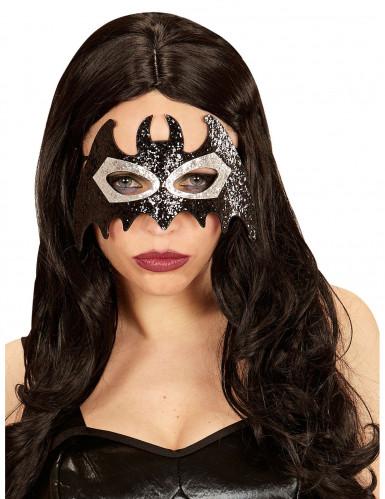 Masque chauve souris brillant noir et gris adulte