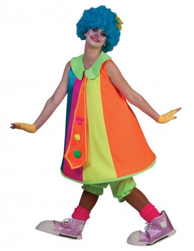 Déguisement robe clown fluo femme