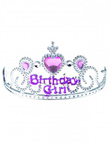 Diadème Birthday girl argent et rose