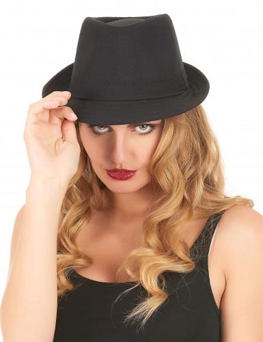 Chapeau borsalino noir luxe adulte-1