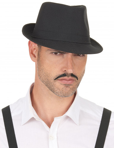 Chapeau borsalino noir luxe adulte-2