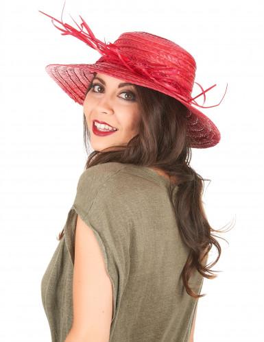 Chapeau de paille vintage rouge femme-1