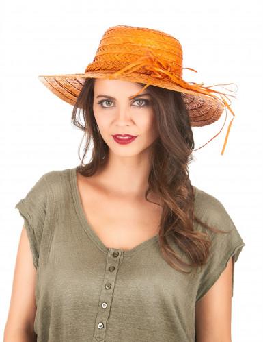 Chapeau de paille vintage orange femme-1