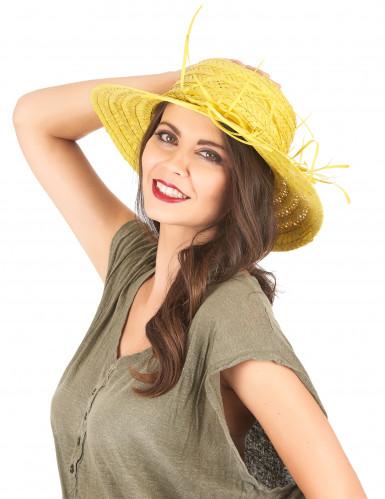 Chapeau de paille vintage jaune femme-1