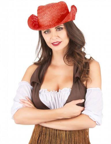Chapeau de paille Western rouge adulte-1