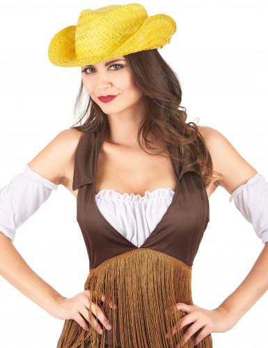 Chapeau de paille Western jaune adulte-1
