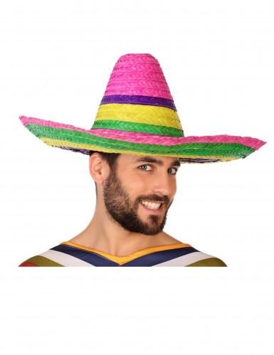 Sombrero Mexicain rouge-vert-jaune adulte-2