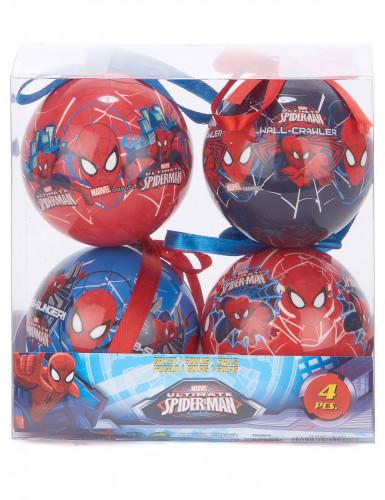4 Boules Spiderman™ 7,5 cm Noël-1
