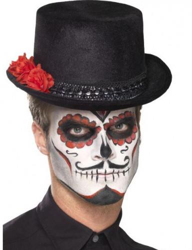 Chapeau haut de forme noir adulte Dia de los muertos-1