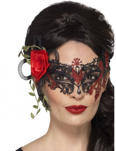 Loup dentelle noir et rouge femme Dia de los muertos