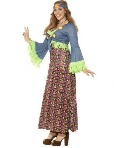 Déguisement hippie flower coloré femme-1
