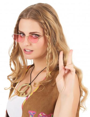 Lunettes roses coeur monture métal adulte-1