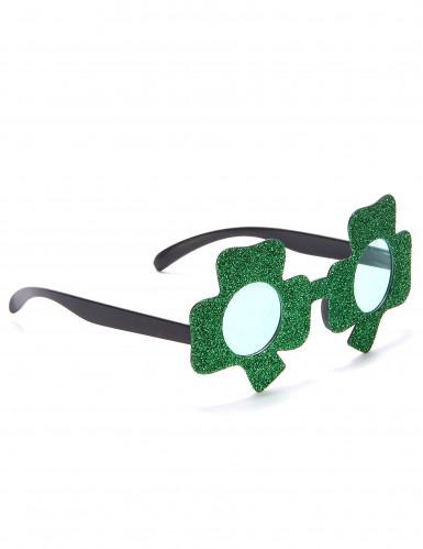 Lunettes pailletées vertes trèfle Saint-Patrick adulte