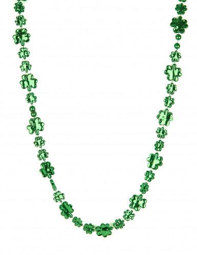 Collier vert trèfle brillant Saint Patrick adulte