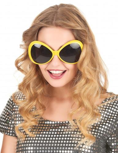 Lunettes disco adulte jaune-1