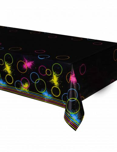 Nappe en plastique Glow Party noire 137 x 259 cm