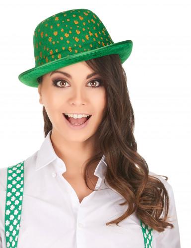 Chapeau melon vert en velours St-Patrick adulte-1