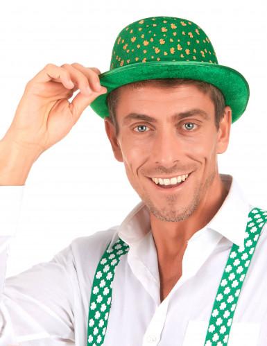 Chapeau melon vert en velours St-Patrick adulte-2