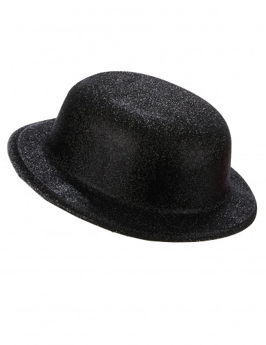 Chapeau melon plastique pailleté noir adulte