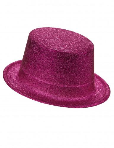 Chapeau haut de forme plastique pailleté fuschia adulte
