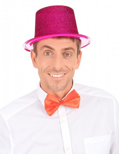 Chapeau haut de forme plastique pailleté fuschia adulte-2