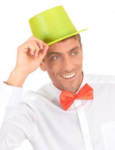 Chapeau haut de forme plastique pailleté jaune adulte-2