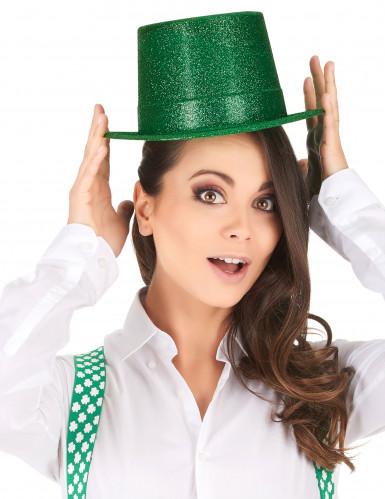 Chapeau haut de forme plastique pailleté vert adulte-1