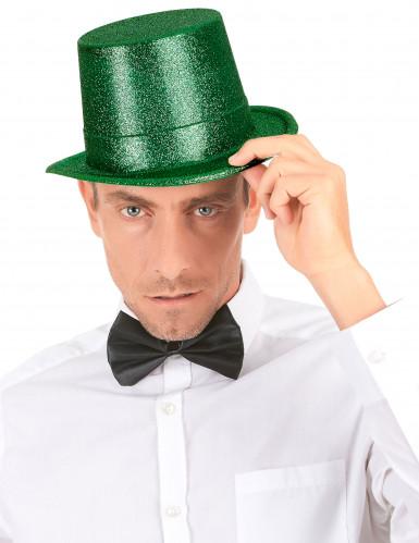 Chapeau haut de forme plastique pailleté vert adulte-2