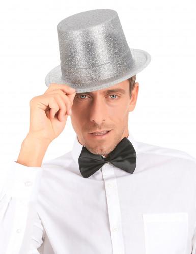 Chapeau haut de forme plastique pailleté argent adulte-2