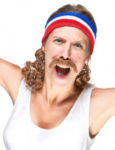 Bandeau Mulet Bleu blanc et rouge avec moustache-2