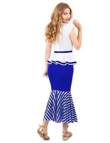 Déguisement de gauloise blanc et bleu femme-2