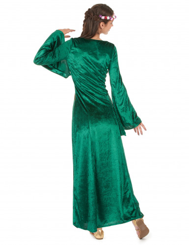 Déguisement médiéval vert effet velours femme-2