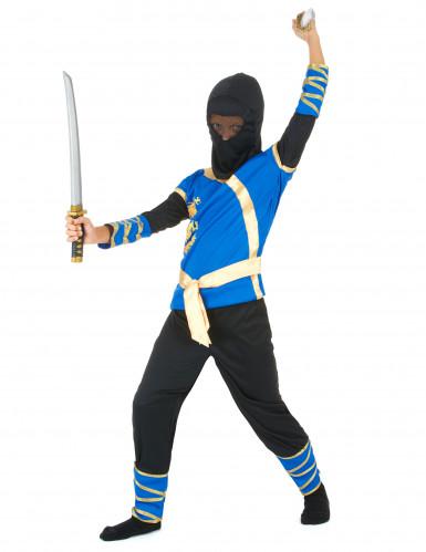 Déguisement ninja bleu et or garçon-1