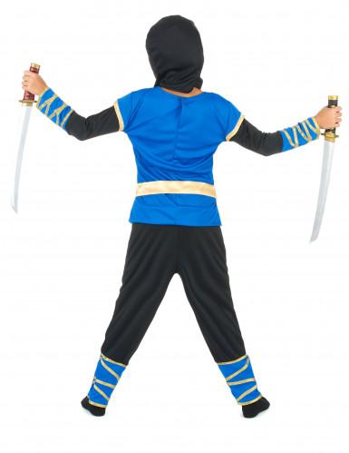 Déguisement ninja bleu et or garçon-2