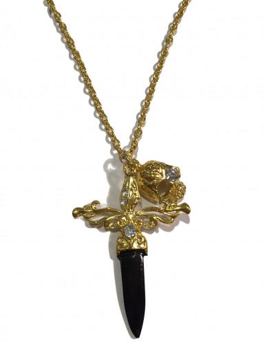 Collier avec sabre noir et doré adulte