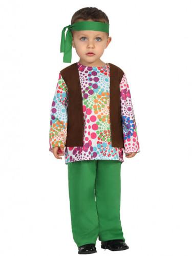 Déguisement hippie vert multicolore à pois bébé