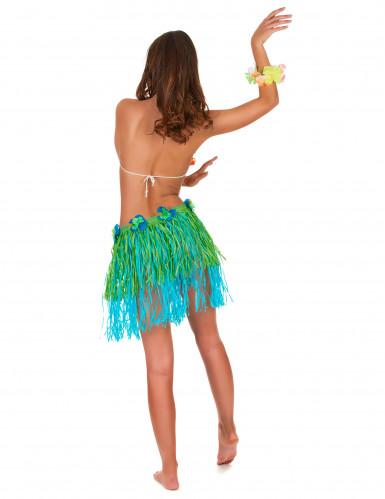 Jupe hawaïenne courte verte et bleue avec fleurs adulte-2