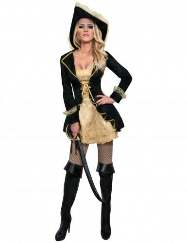 Déguisement pirate baroque noir et dorée femme