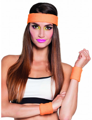 Bandeau et poignets orange 80's adulte