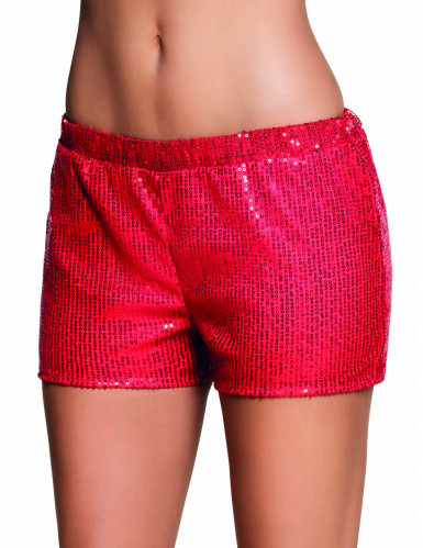 Shorty à sequins rouge femme