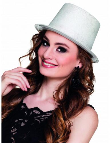 Chapeau haut de forme blanc à paillettes adulte