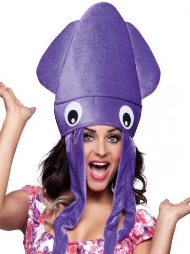 Chapeau poulpe violet en peluche adulte