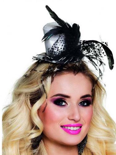 Mini chapeau glamour à plumes adulte