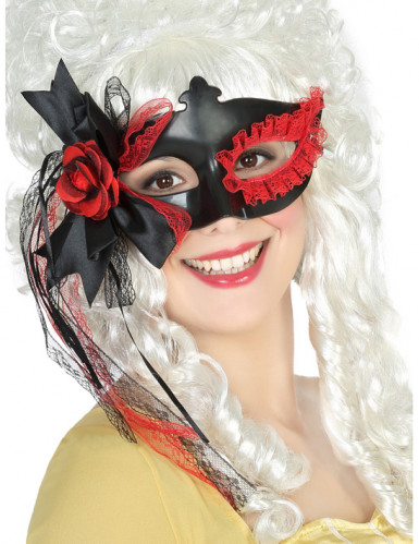 Loup noir avec dentelle et fleur rouge femme